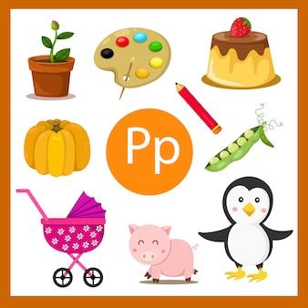 Elementos do alfabeto p para crianças