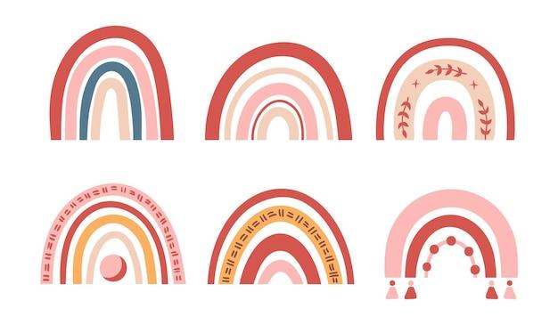 Elementos do arco-íris em tons pastel de boho isolados
