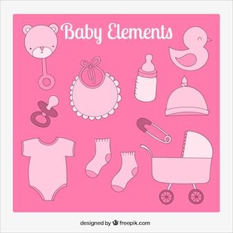 Elementos do bebê em tons de rosa
