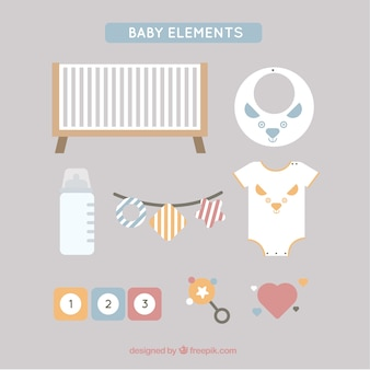 Elementos do bebê fantásticas em design plano