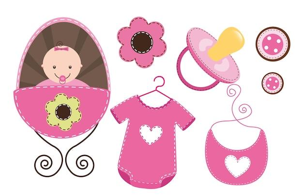 Elementos do bebê isolatedbaby menina vector illustration