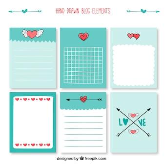 Elementos do blog romântico desenhados mão