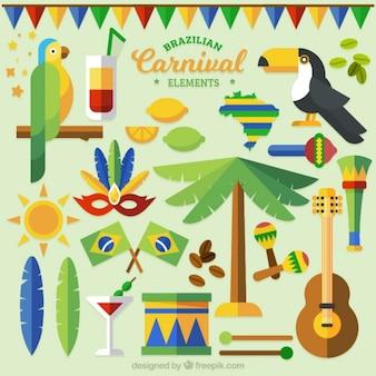 Elementos do carnaval brasileiro coloridas no design plano