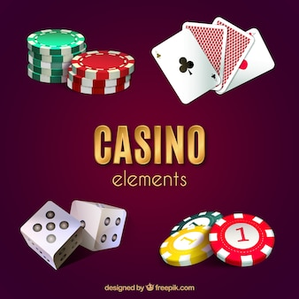 Elementos do casino no fundo roxo