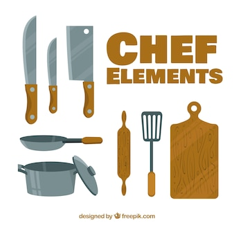 Elementos do chef com design plano