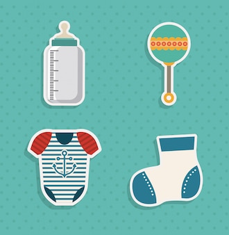Elementos do chuveiro de bebê