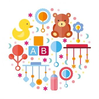 Elementos do chuveiro para bebés