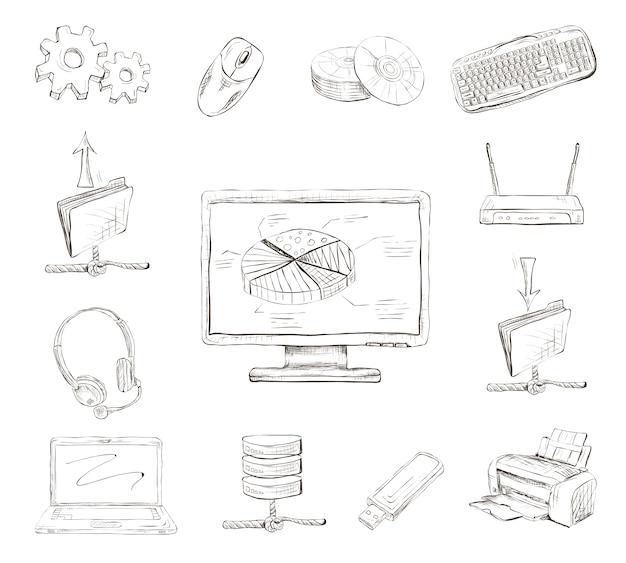 Elementos do computador desenhados mão