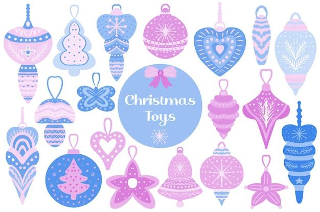 Elementos do conjunto de brinquedos da árvore de natal das decorações de natal. estilo de desenho da mão do clip art da coleção do feriado. clip-art vetorial