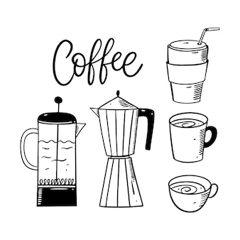 Elementos do conjunto de café. esboço desenhado de mão.