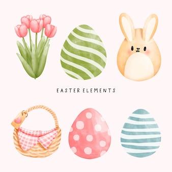 Elementos do dia da páscoa em aquarela com coelho gnomo e flores