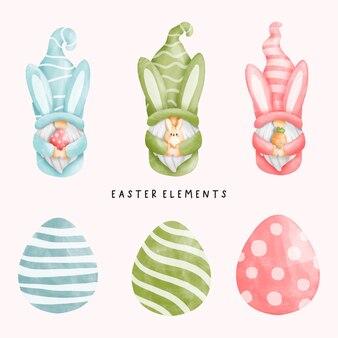 Elementos do dia da páscoa em aquarela com coelho gnomo e ovos de páscoa