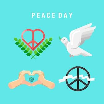 Elementos do dia da paz plano