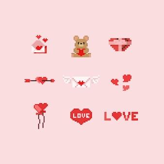 Elementos do dia dos namorados de pixel