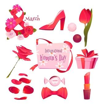 Elementos do dia internacional da mulher plana