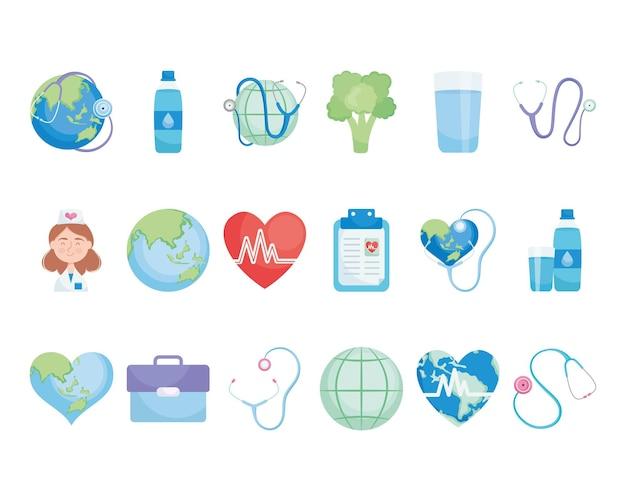 Elementos do dia mundial da saúde definidos em branco