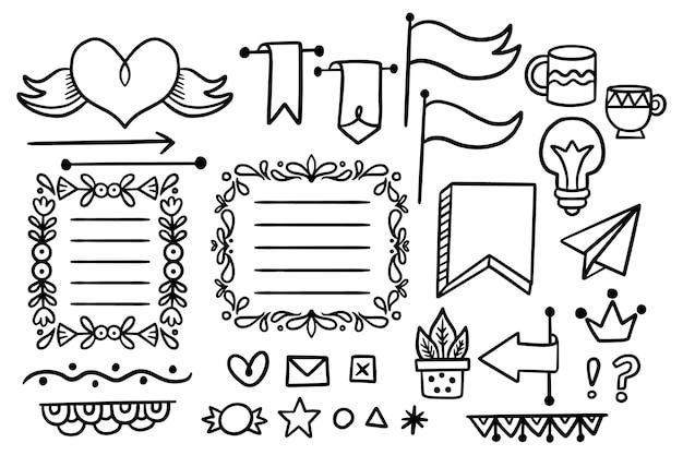 Elementos do diário com marcadores de estilo desenhado à mão