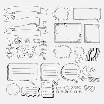 Elementos do diário com marcadores desenhados à mão cópia espaço