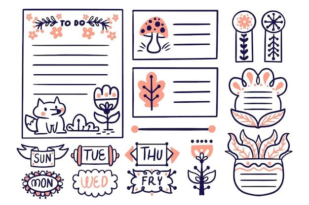Elementos do diário com marcadores desenhados à mão