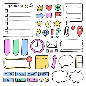 Elementos do diário com marcadores em cores pastel