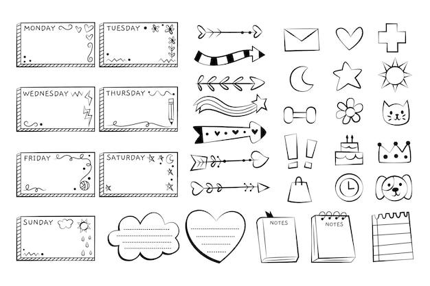 Elementos do diário com marcadores em preto e branco