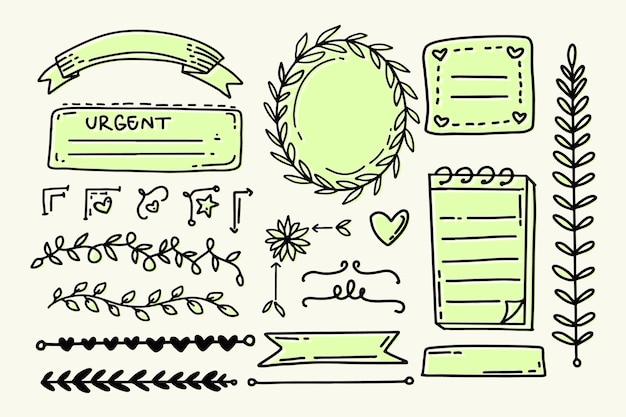 Elementos do diário com marcadores em tons de verde claro pastel