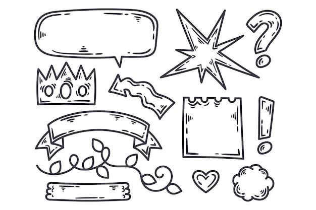 Elementos do diário com marcadores em várias formas