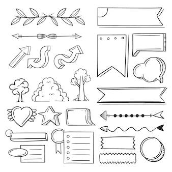 Elementos do diário com marcadores isolados no fundo branco