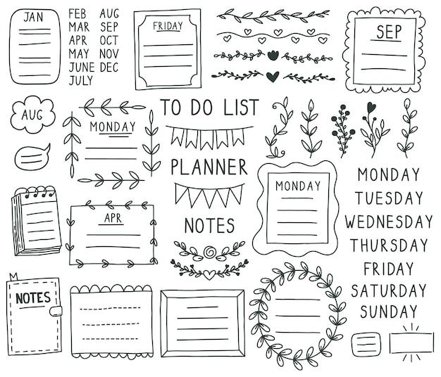 Elementos do diário com marcadores. mão desenhada doodle balas de caderno, caderno, calendário de programação.