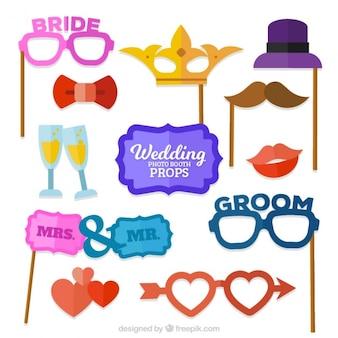 Elementos do divertimento para cabine de foto do casamento