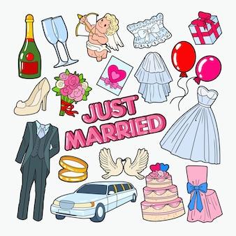 Elementos do doodle do dia do casamento