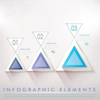 Elementos do infográfico abstrato do triângulo moderno colorido em azul