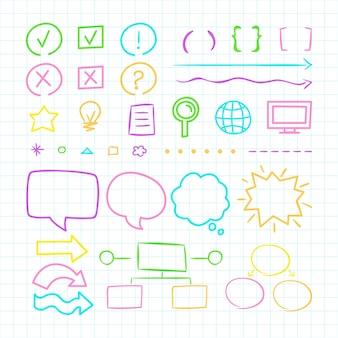 Elementos do infográfico colorido da escola