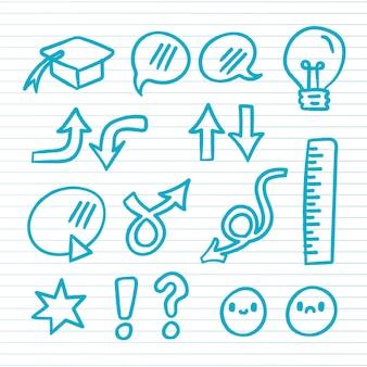 Elementos do infográfico da escola desenhados à mão