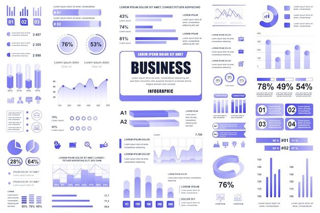 Elementos do infográfico de negócios e finanças diferentes diagramas de gráficos, fluxograma de fluxo de trabalho cronograma