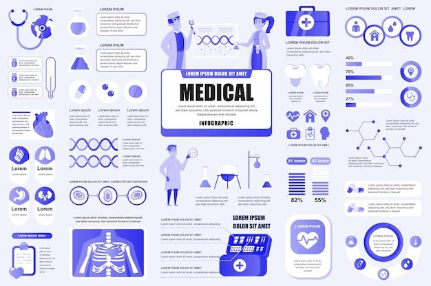 Elementos do infográfico de serviços médicos fluxograma de fluxo de trabalho de diagramas de gráficos diferentes