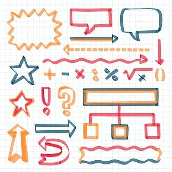 Elementos do infográfico escolar com coleção de marcadores coloridos