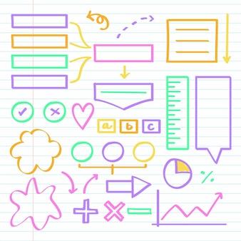 Elementos do infográfico escolar com conjunto de marcadores coloridos