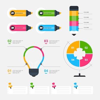 Elementos do infográfico escolar com marcadores coloridos