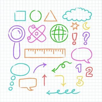 Elementos do infográfico escolar com marcadores