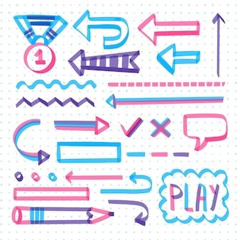 Elementos do infográfico escolar com pacote de marcadores coloridos