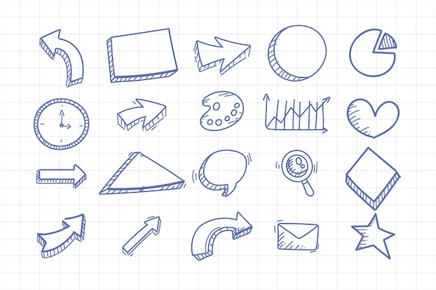 Elementos do infográfico escolar desenhado à mão