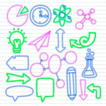 Elementos do infográfico escolar em conjunto de marcadores coloridos