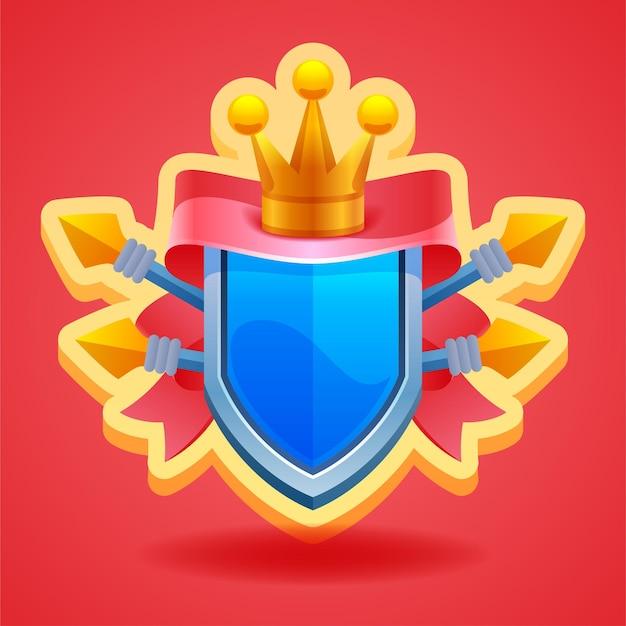 Elementos do jogo escudo com coroa e fita