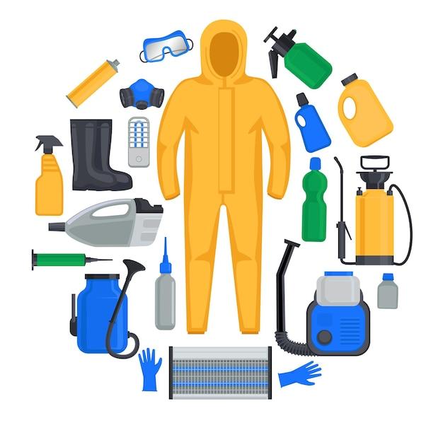 Elementos do kit de desinfecção para limpeza e descontaminação