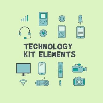 Elementos do kit de tecnologia