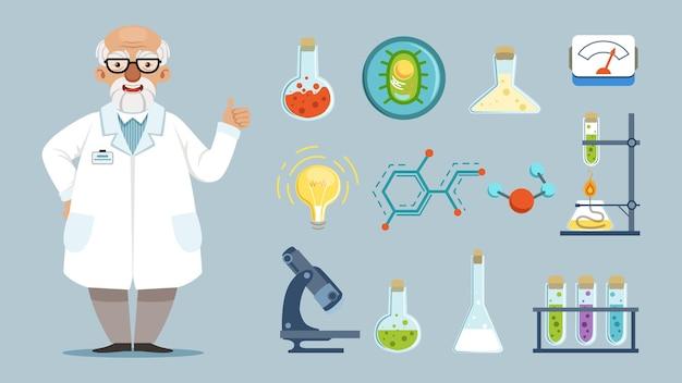 Elementos do laboratório químico, equipamento e químico
