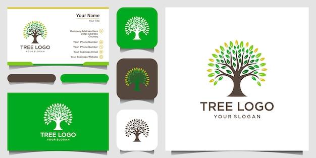 Elementos do logotipo da árvore. modelo de logotipo de jardim verde e design de cartão de visita