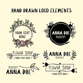 Elementos do logotipo desenhados mão
