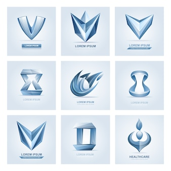 Elementos do logotipo e ícones abstratos da web